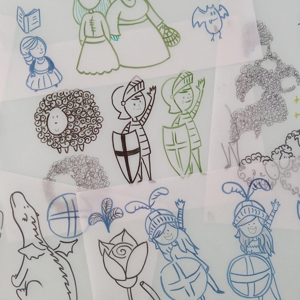 Il·lustracions fetes a mà pel projecte #CreaElteuSantJordi